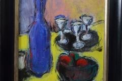 Marcel Kreuning -Stilleven met blauwe fles