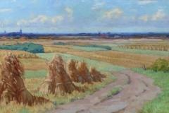 Willem Noordijk - Korenschoven in landschap bij Eemnes