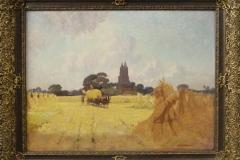 Henri van Os-Delhez - Oogstende boeren bij Laren NH