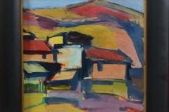 Frans W.A. van der Veen - Huizen in heuvellandschap