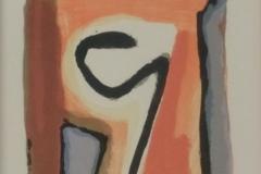 Bram van Velde - Zonder titel abstract oranjetint